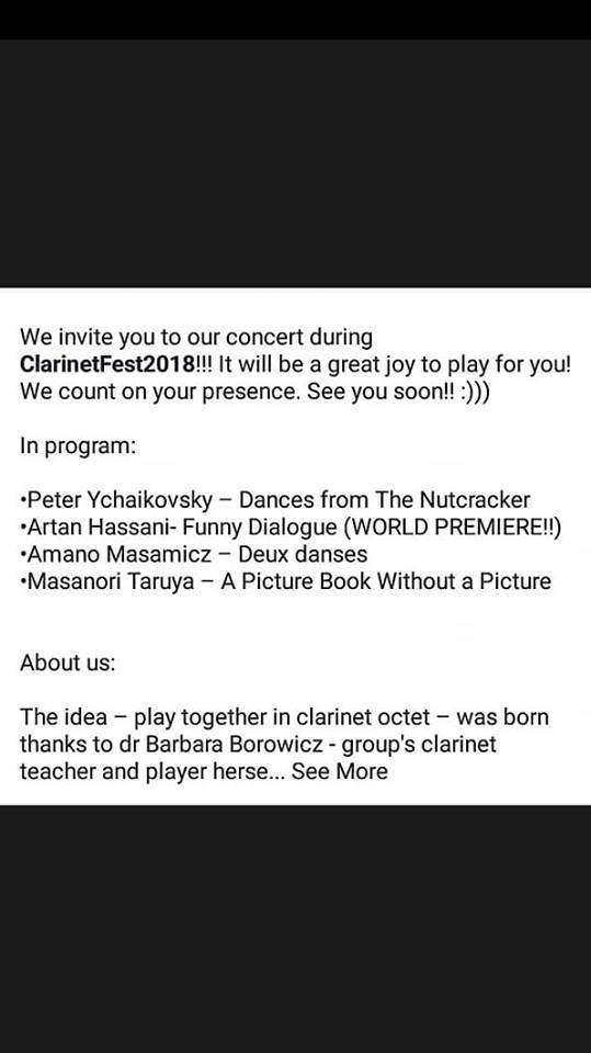 """36705184_10212179637193491_550916026288570368_n Vepra e kompozitorit Artan Hasani do të interpretohet në Festivalin Ndërkombëtar """"Clarinet Fest 2018"""""""